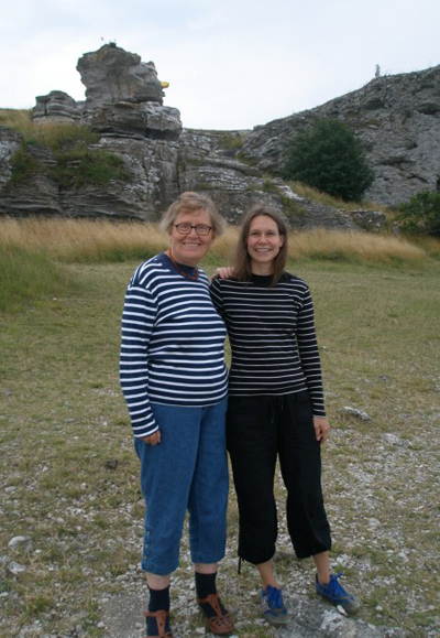 Kerstin and Linda. In the background, the famous rock Hoburgsgubben, summer of 09.